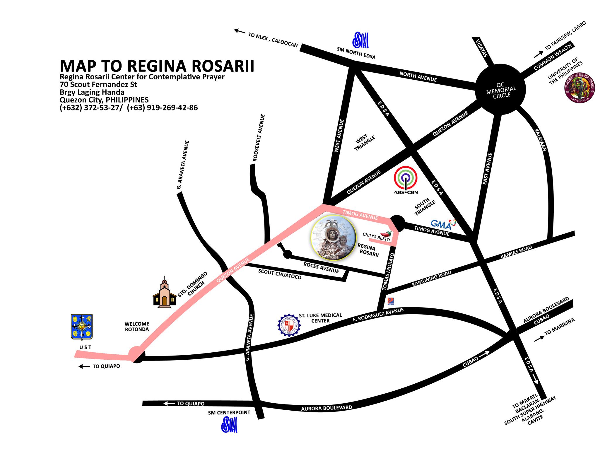 Location Map To Regina Rosarii Dominican Sisters Of Regina Rosarii - Location map ust